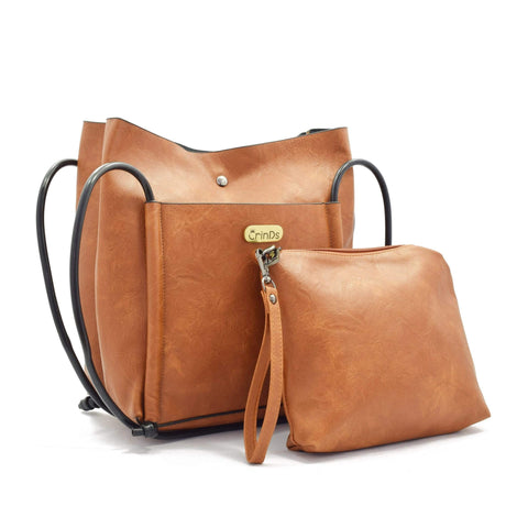 Crinds designer 2in1Big  Brown Shoulder Bag Men Women Ladies Girls Handbags
