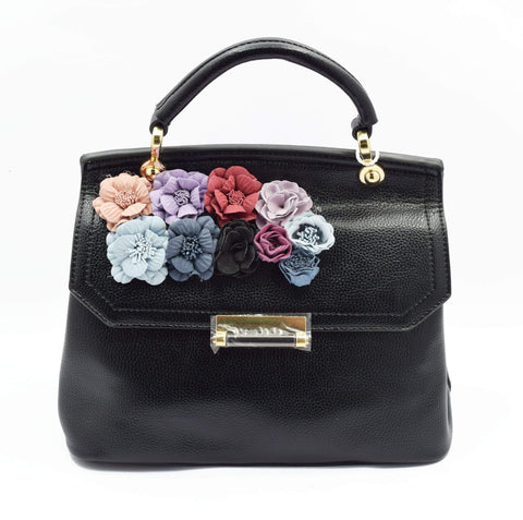 Crinds designer Applique Floral Flap Black Bag Men Women Ladies Girls Handbags