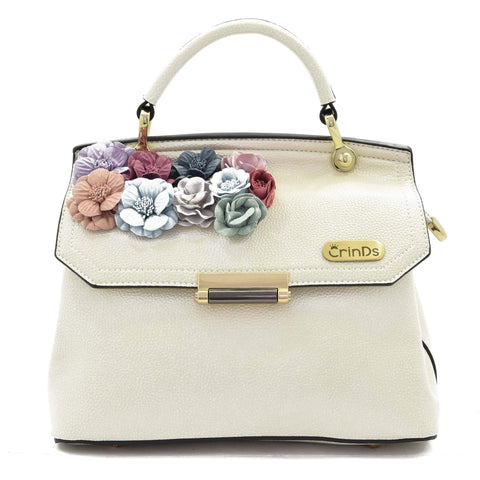 Crinds designer Applique Floral Flap White Bag Men Women Ladies Girls Handbags