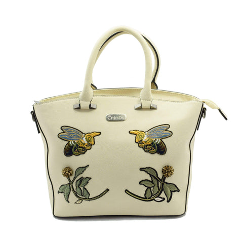 Crinds designer Bee Patch White Tote Men Women Ladies Girls Handbags