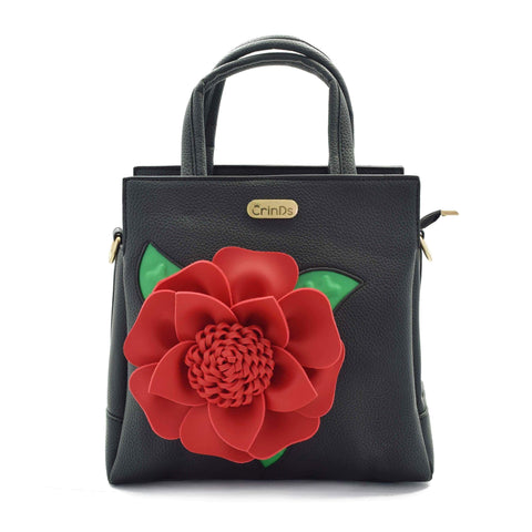 Crinds designer Big flower black handbag Men Women Ladies Girls Handbags