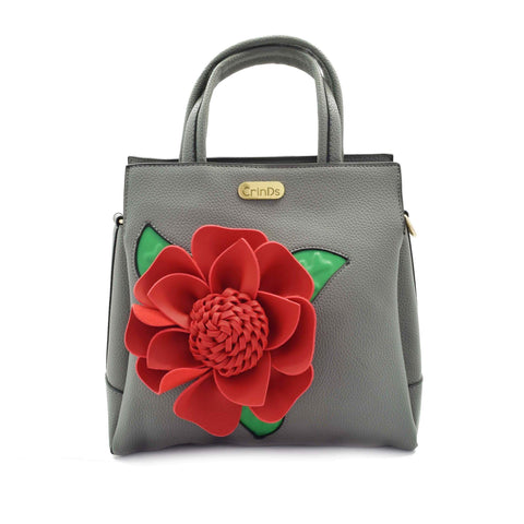 Crinds designer Big flower grey handbag Men Women Ladies Girls Handbags