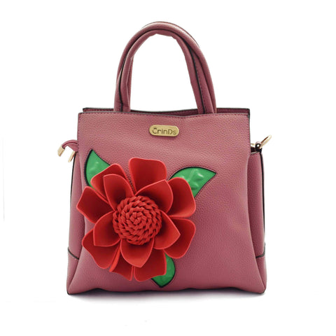 Crinds designer Big flower pink handbag Men Women Ladies Girls Handbags