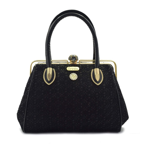 Crinds designer Black Net & Shimmer Handbag Men Women Ladies Girls Handbags