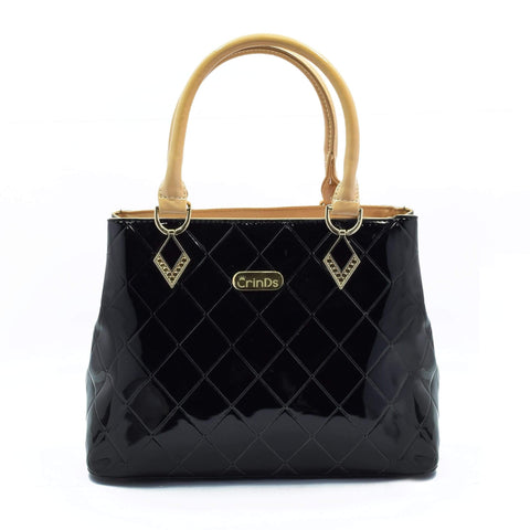Crinds designer Black Shine Check Party Handbag Men Women Ladies Girls Handbags
