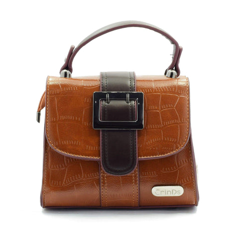 Crinds designer Buckle Flap Brown Satchel Sling Men Women Ladies Girls Handbags