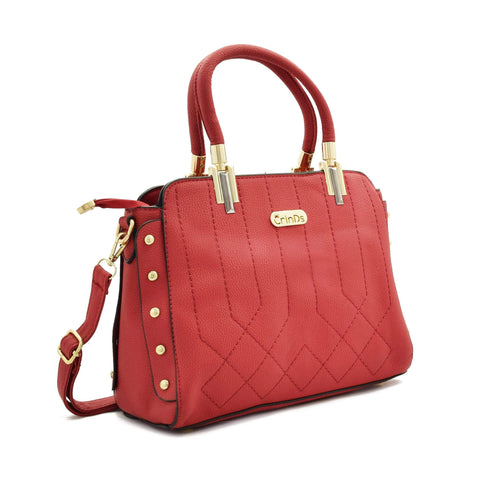 Crinds designer Classy Stich Stud Red Handbag Men Women Ladies Girls Handbags