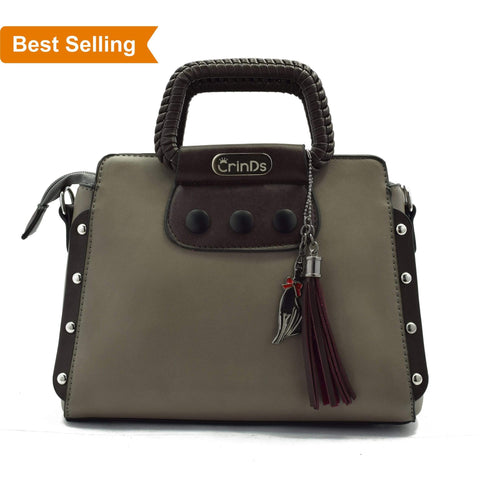 Crinds designer Classy Stud Grey Handbag Men Women Ladies Girls Handbags