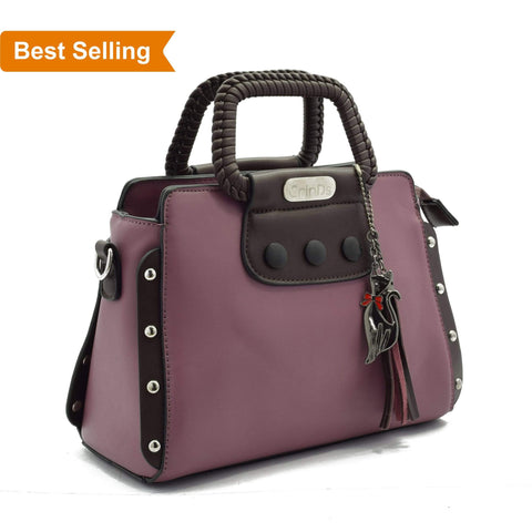 Crinds designer Classy Stud Purple Handbag Men Women Ladies Girls Handbags