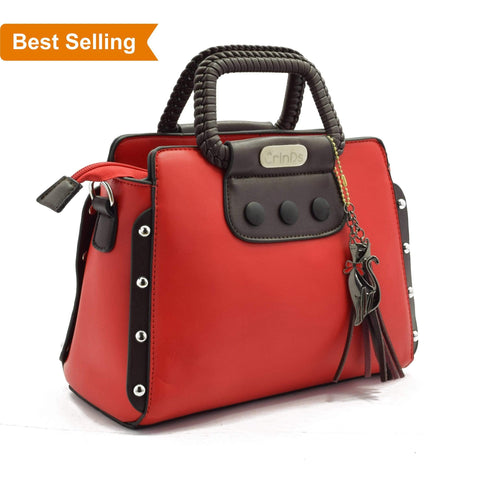 Crinds designer Classy Stud Red Handbag Men Women Ladies Girls Handbags