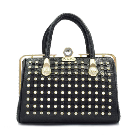 Crinds designer Crinds Black Square cutout embellished handbag Men Women Ladies Girls Handbags