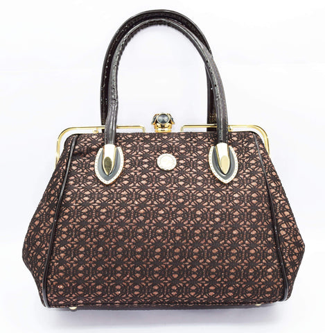 Crinds designer Crinds Brown Net & Shimmer Handbag Men Women Ladies Girls Handbags
