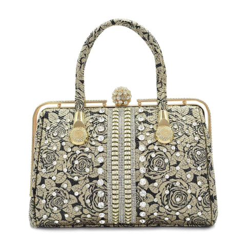 Crinds designer Crinds Embellished diamond knob Handbag - Golden Rose Men Women Ladies Girls Handbags