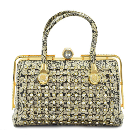Crinds designer Crinds Golden Rose Square cutout embellished handbag Men Women Ladies Girls Handbags