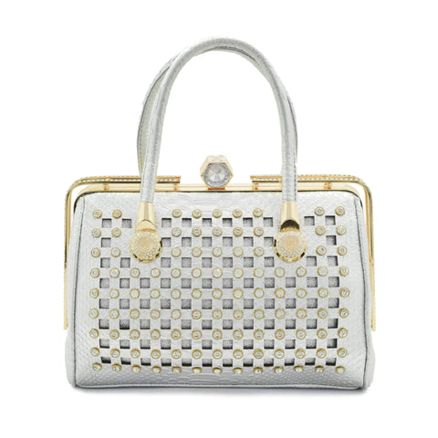 Crinds designer Crinds Square cutout embellished handbag Silver Men Women Ladies Girls Handbags