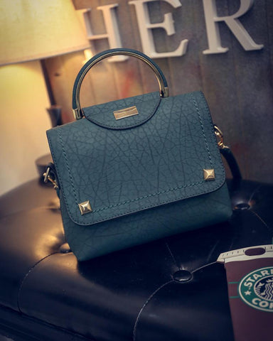 Crinds designer Crinds Trendy Textured Stud Flap Handbag Men Women Ladies Girls Handbags