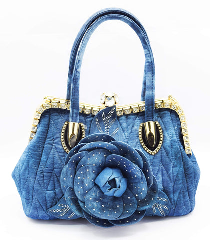 Crinds designer Denim Rose Embellished Handbag Men Women Ladies Girls Handbags