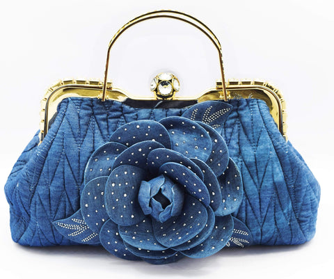 Crinds designer Denim Rose Handbag Men Women Ladies Girls Handbags