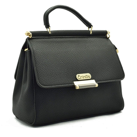 Crinds designer Double Flap Black Handbag Men Women Ladies Girls Handbags