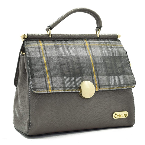 Crinds designer Dual Flap Checkered Design Grey Handbag Men Women Ladies Girls Handbags