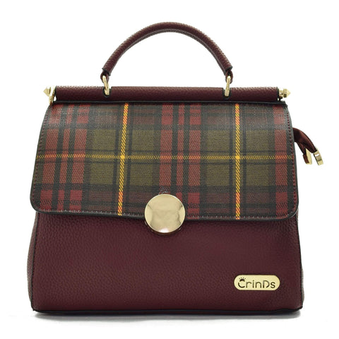 Crinds designer Dual Flap Checkered Maroon Handbag Men Women Ladies Girls Handbags