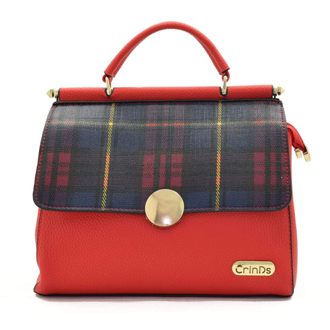 Crinds designer Dual Flap Checkered Red Handbag Men Women Ladies Girls Handbags
