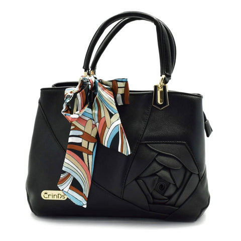 Crinds designer Embed Rose Big Black Handbag Men Women Ladies Girls Handbags