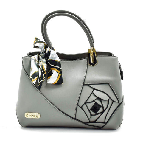 Crinds designer Embed Rose Big Grey Handbag Men Women Ladies Girls Handbags