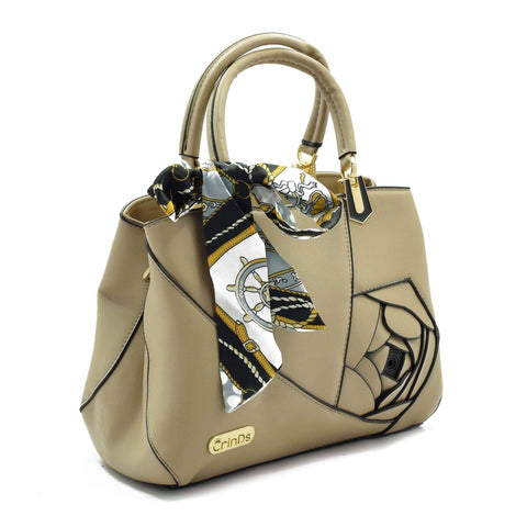 Crinds designer Embed Rose Big Khaki Handbag Men Women Ladies Girls Handbags