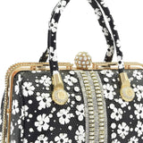 Crinds designer Embellished Black Floral diamond knob Handbag Men Women Ladies Girls Handbags