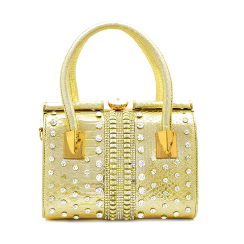 Crinds designer Embellished Stiff Duffel Bag Golden Men Women Ladies Girls Handbags