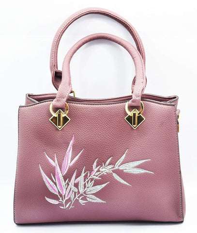 Embroidered leaves classic handbag – Crinds