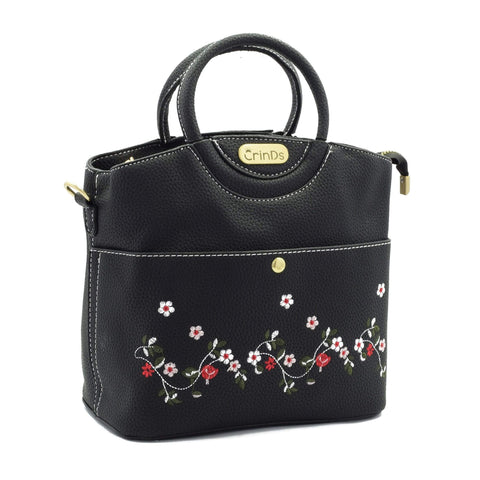 Crinds designer Embroidery Design Black Handbag Men Women Ladies Girls Handbags