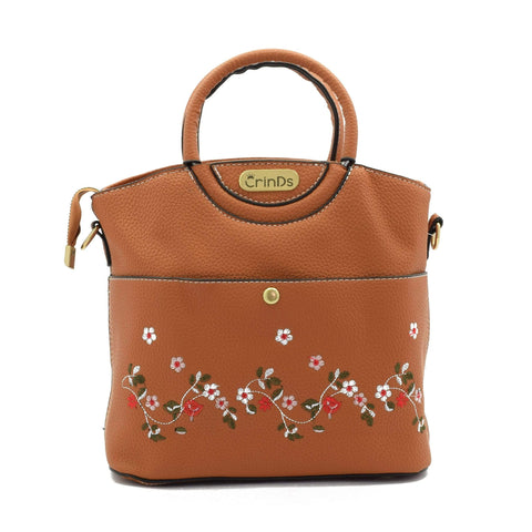Crinds designer Embroidery Design Brown Handbag Men Women Ladies Girls Handbags