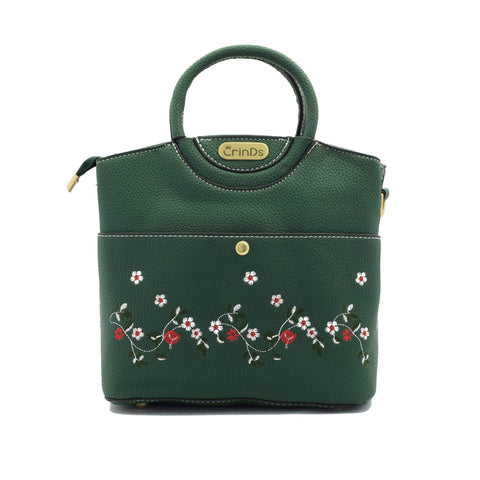 Crinds designer Embroidery Design Green Handbag Men Women Ladies Girls Handbags
