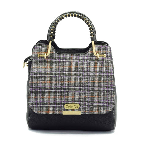 Crinds designer Fizzy Check Flap Black Sling Men Women Ladies Girls Handbags