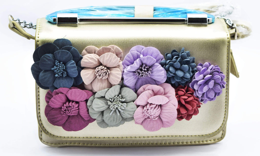 Floral applique small golden handbag u crinds