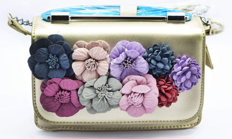 Crinds designer Floral Applique Small Golden Handbag Men Women Ladies Girls Handbags