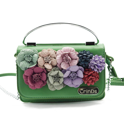 Crinds designer Floral Applique Small Green Handbag Men Women Ladies Girls Handbags