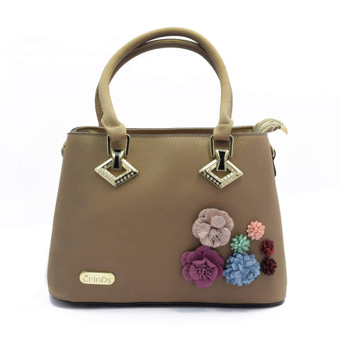 Crinds designer Floral Patch Brown Handbag Men Women Ladies Girls Handbags