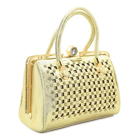 Crinds designer Golden Square cutout embellished handbag Men Women Ladies Girls Handbags