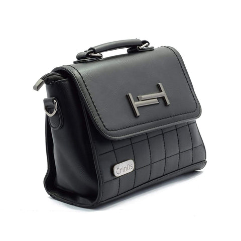 Crinds designer H Check Black Flap Handbag Men Women Ladies Girls Handbags