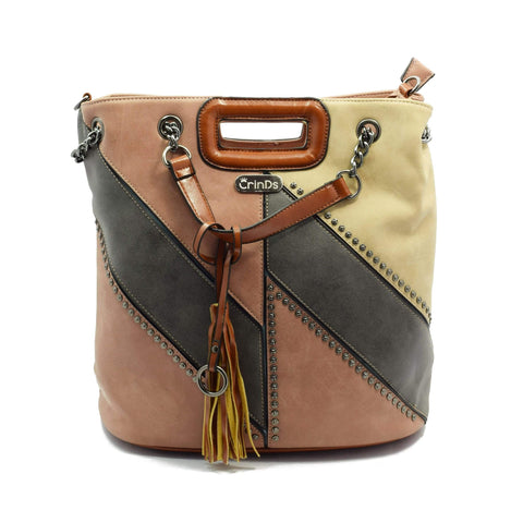 Crinds designer Leather Handle Brown Bucket Men Women Ladies Girls Handbags
