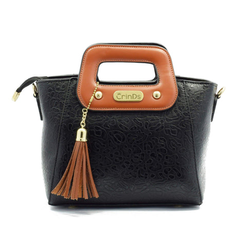 Crinds designer Leather Handle Small Black Sling Men Women Ladies Girls Handbags
