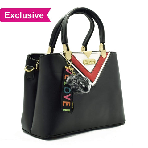 Crinds designer Luxy Formal V Black Handbag Men Women Ladies Girls Handbags