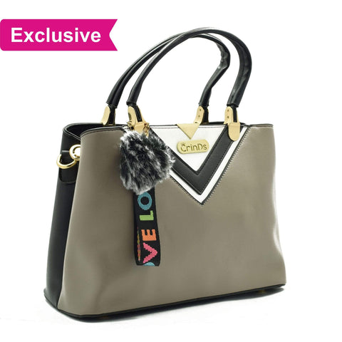 Crinds designer Luxy Formal V Grey Handbag Men Women Ladies Girls Handbags