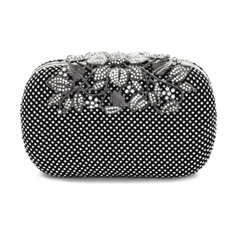Crinds designer Metal leafs closing Black clutch bag Men Women Ladies Girls Clutch