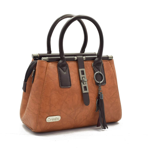 Crinds designer Metal Lock Brown Handbag Men Women Ladies Girls Handbags