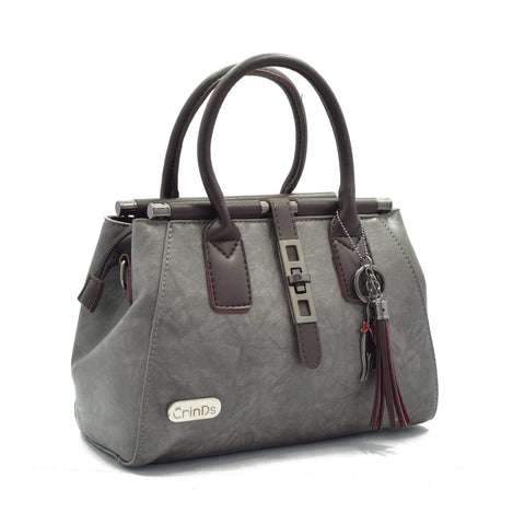 Crinds designer Metal Lock Grey Handbag Men Women Ladies Girls Handbags