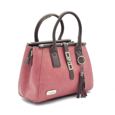 Crinds designer Metal Lock Pink Handbag Men Women Ladies Girls Handbags